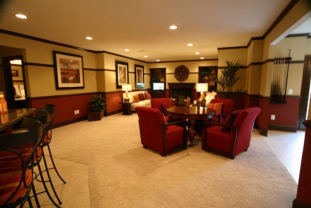 Creative & fun recreational room ideas · 1. Prescott Basement Rec Room II by Van Metre Homes, via ...