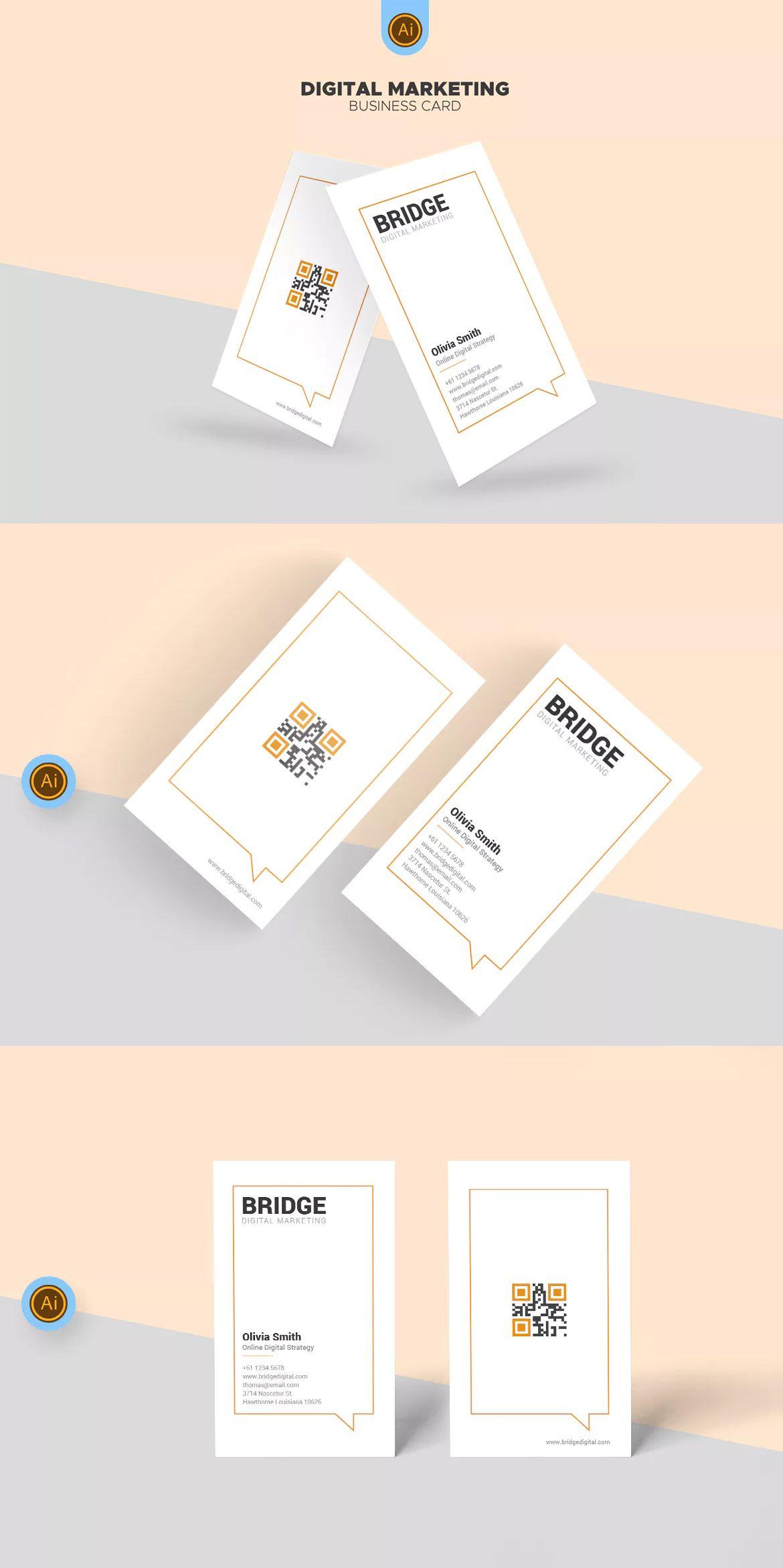 Bridge digital marketing business card template ai business card bridge digital marketing business card template ai wajeb Images
