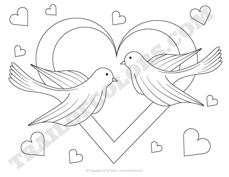 Adorable Doves Coloring Page for Kids | Free printables and Craft