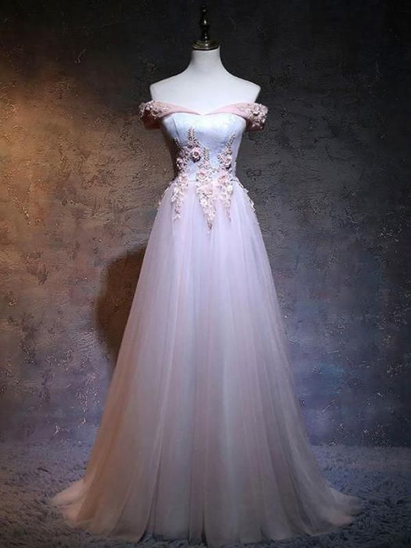e2ff913a3ea Gorgeous Floor-Length Light Pink Off Shoulder Tulle Prom Dresses With  Appliques Online