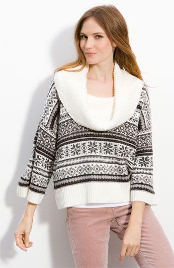 Kensie Cowl Neck Fair Isle Sweater | fashionista | Pinterest ...