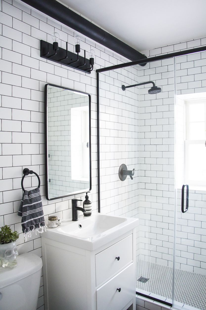 A Modern Meets Traditional Black And White Bathroom Makeover Small Bathroom Remodel Bathroom Makeover Bathrooms Remodel