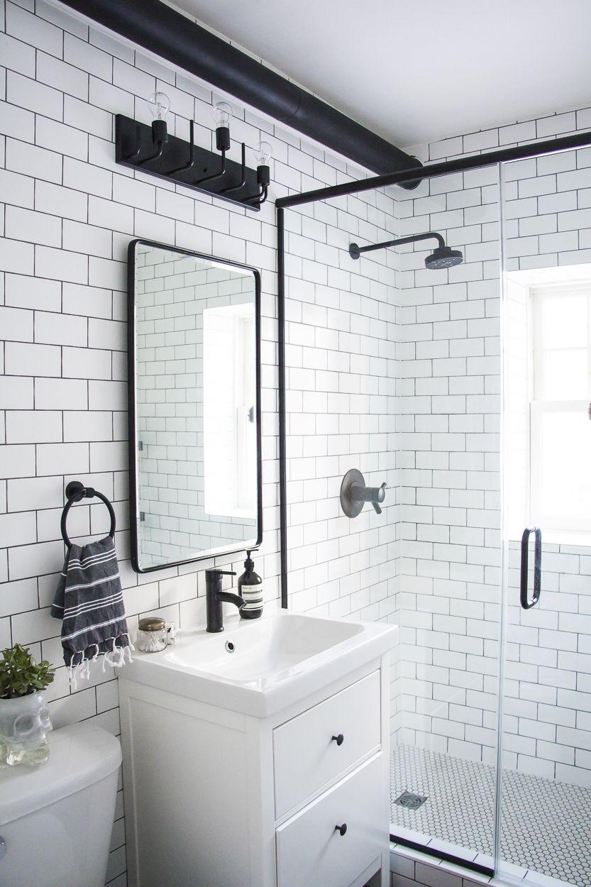 Bathroom Makeover Toronto a modern meets traditional black and white bathroom makeover