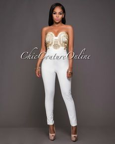 Hidi Off White Gold Embellished Strapless Jumpsuit Sharp As A Tic