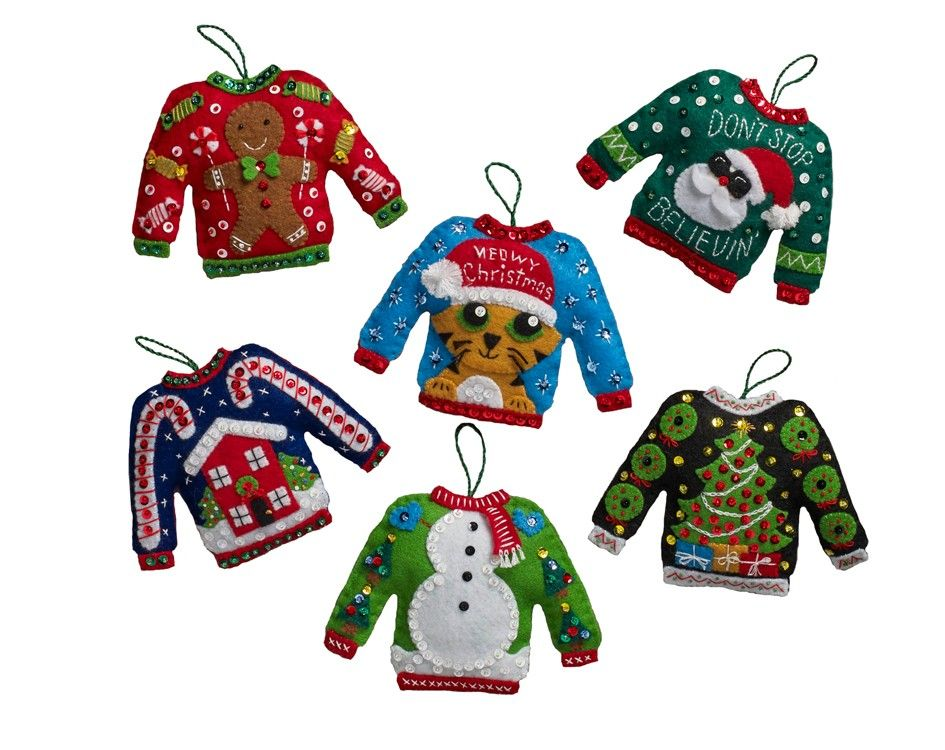 Ugly Sweaters Bucilla Felt Ornaments Christmas Pinterest