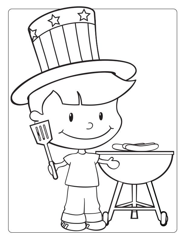 Boy Bbq Coloring Pages July Colors Business For Kids