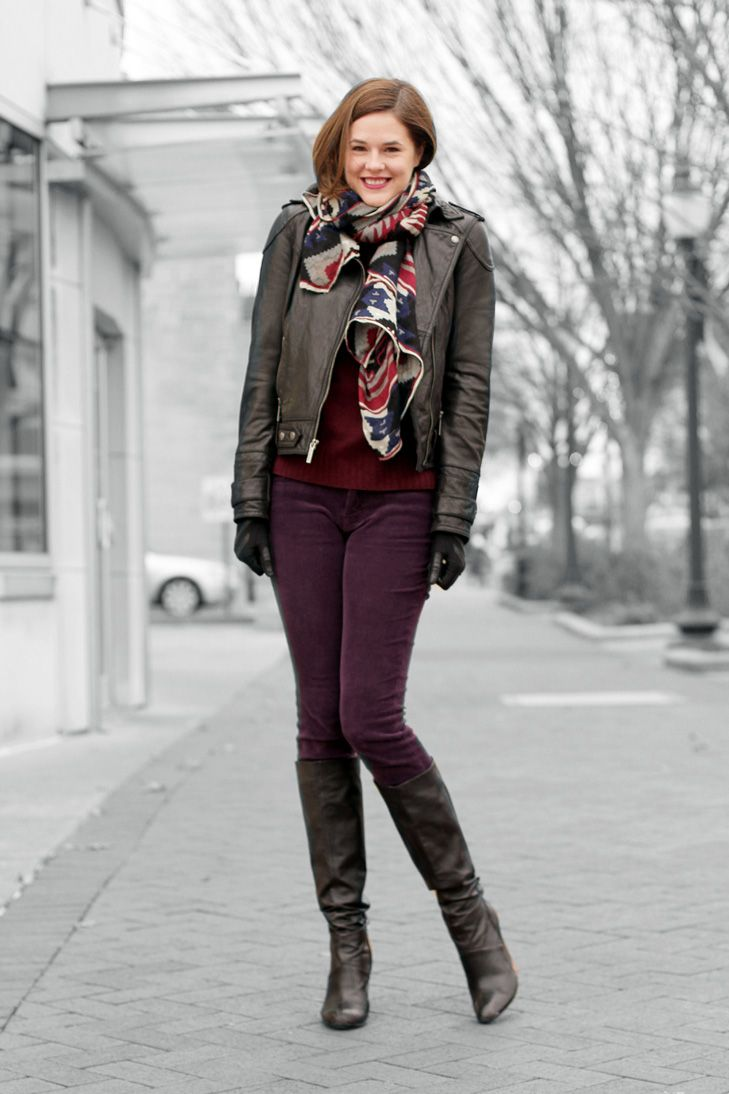 What I Wore: Comfy Cozy | Purple pants, Oxblood and Burgundy sweater
