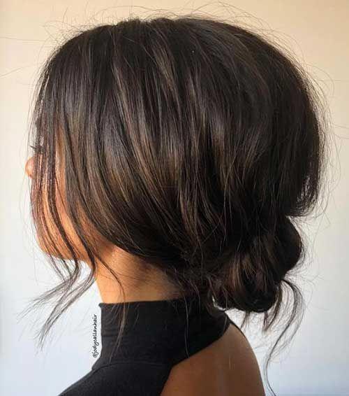 17.Simple Low Bun Updo for Short Hair #bunupdo