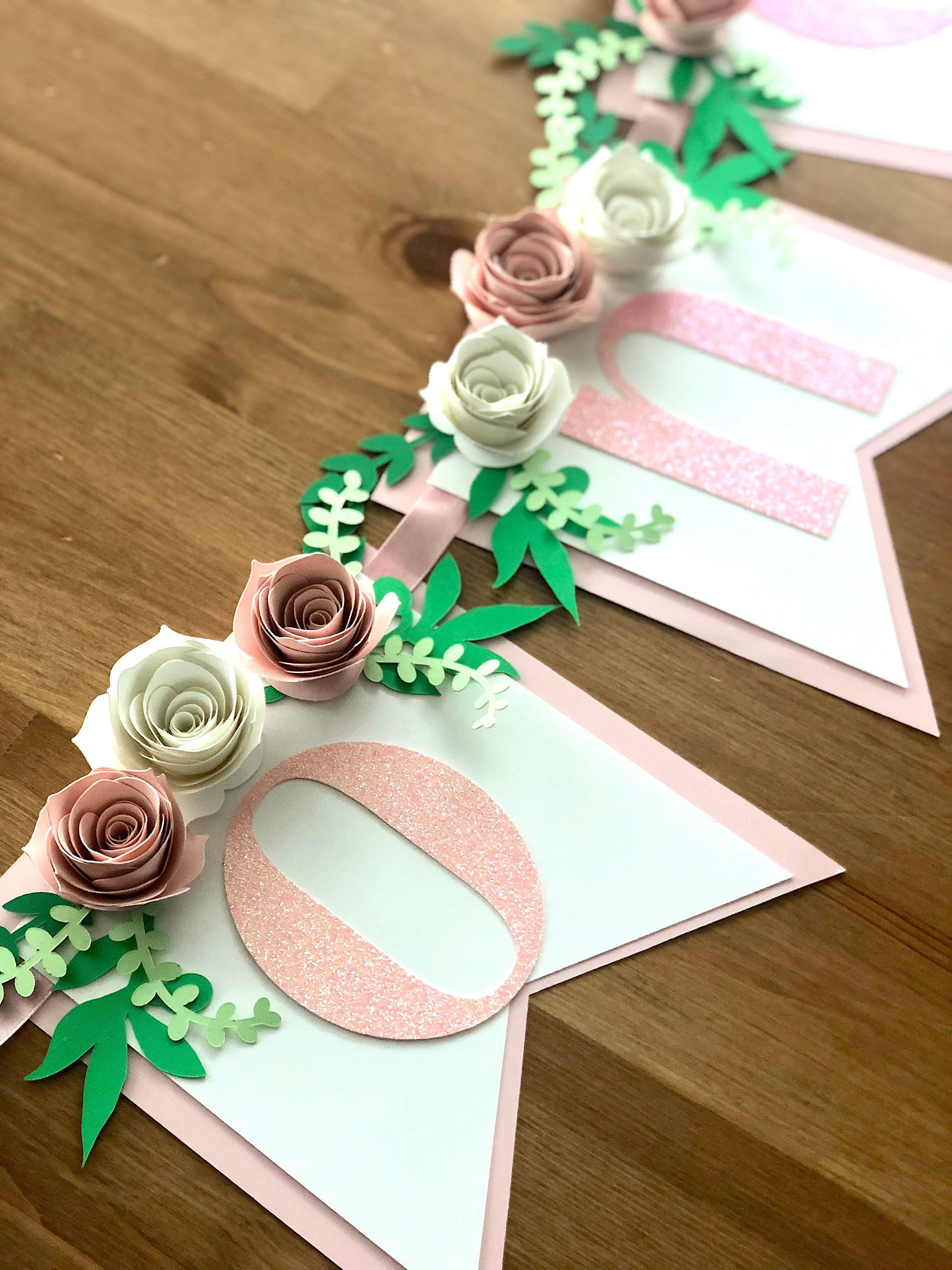 Baby Girl Banner Floral 1st Banner Photo Prop-TWO One Floral Highchair banner 1st Birthday banner Roses Banner Cake smash Banner