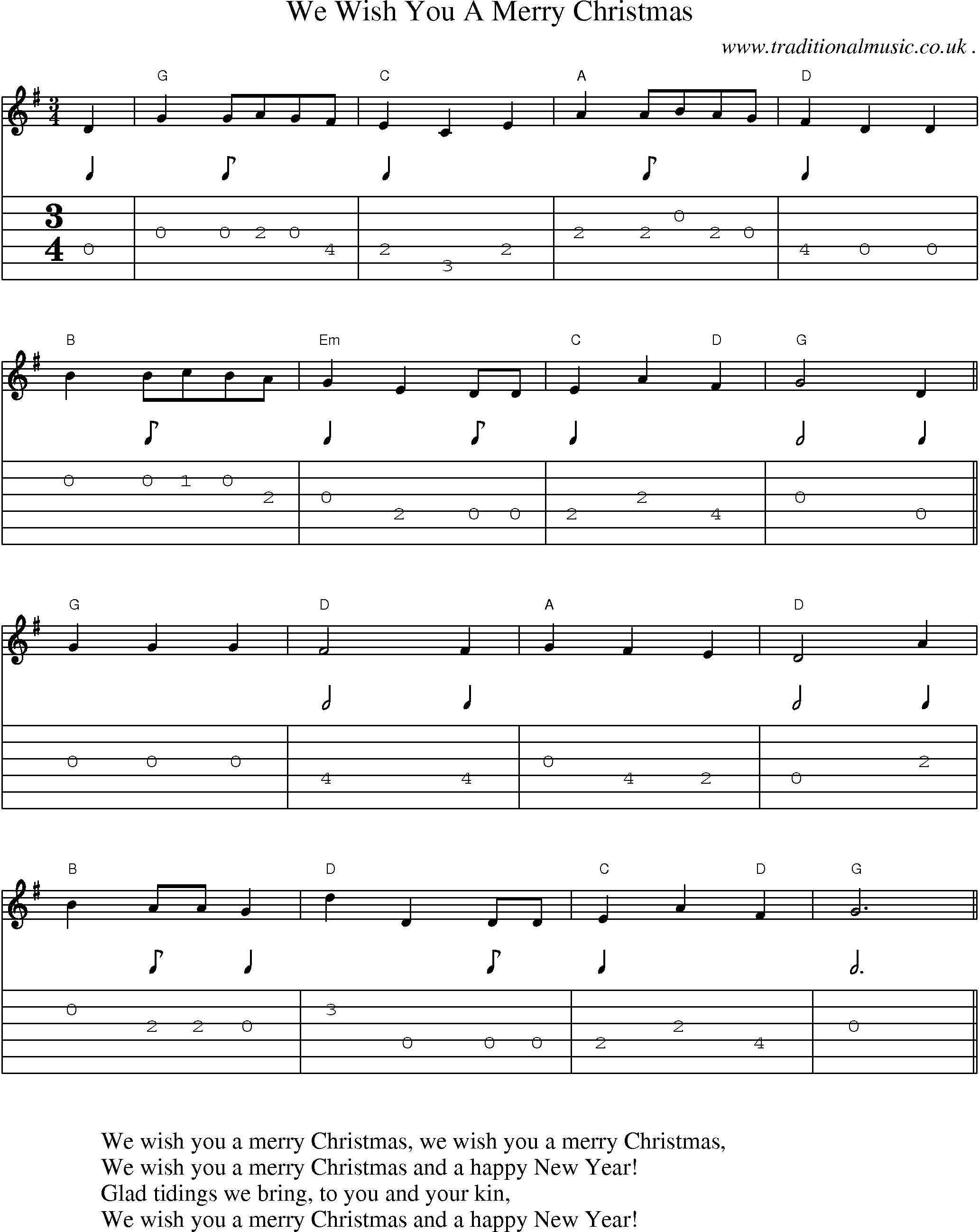 Music Score And Guitar Tabs For We Wish You A Merry Christmas