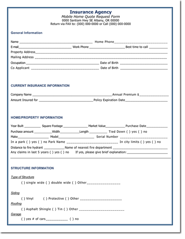 Home Insurance Quotation Form Template Home Insurance Quotes