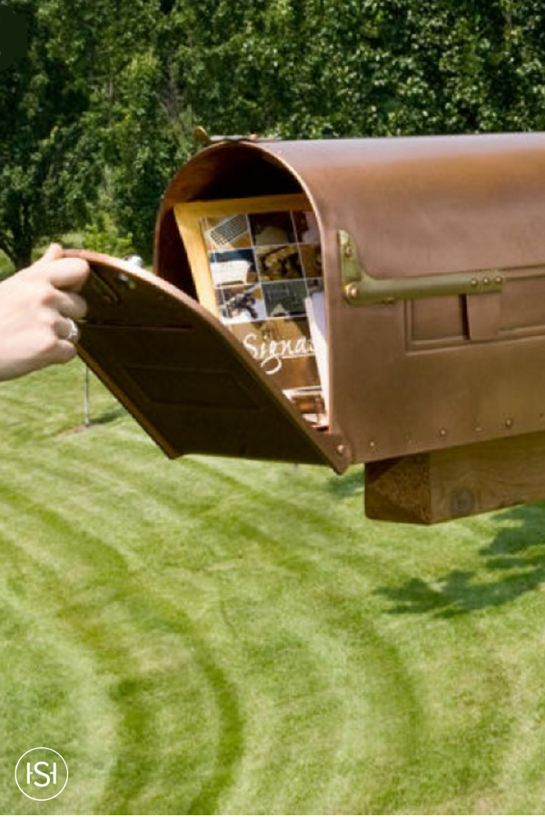 Stevenson Locking Post Mount Copper Mailbox Copper Mailbox Mailbox House Styles