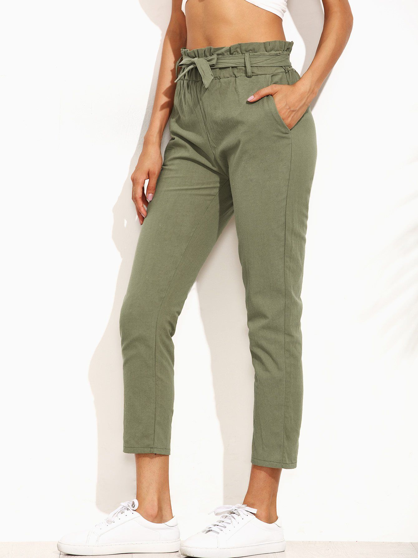 6ffc8b651f Frill Tie Waist Pants in 2019 | Girl boss wardrobe | Army green ...
