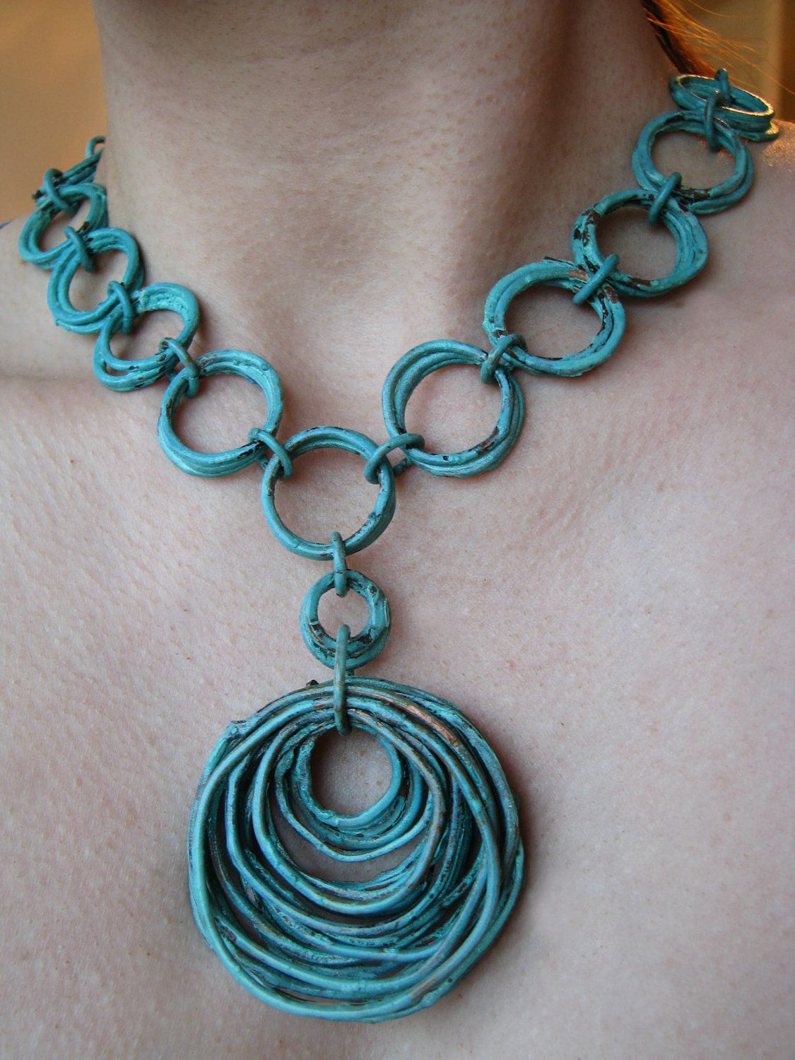 Necklace | Jamie Spinello.  Copper with a turquoise patina.