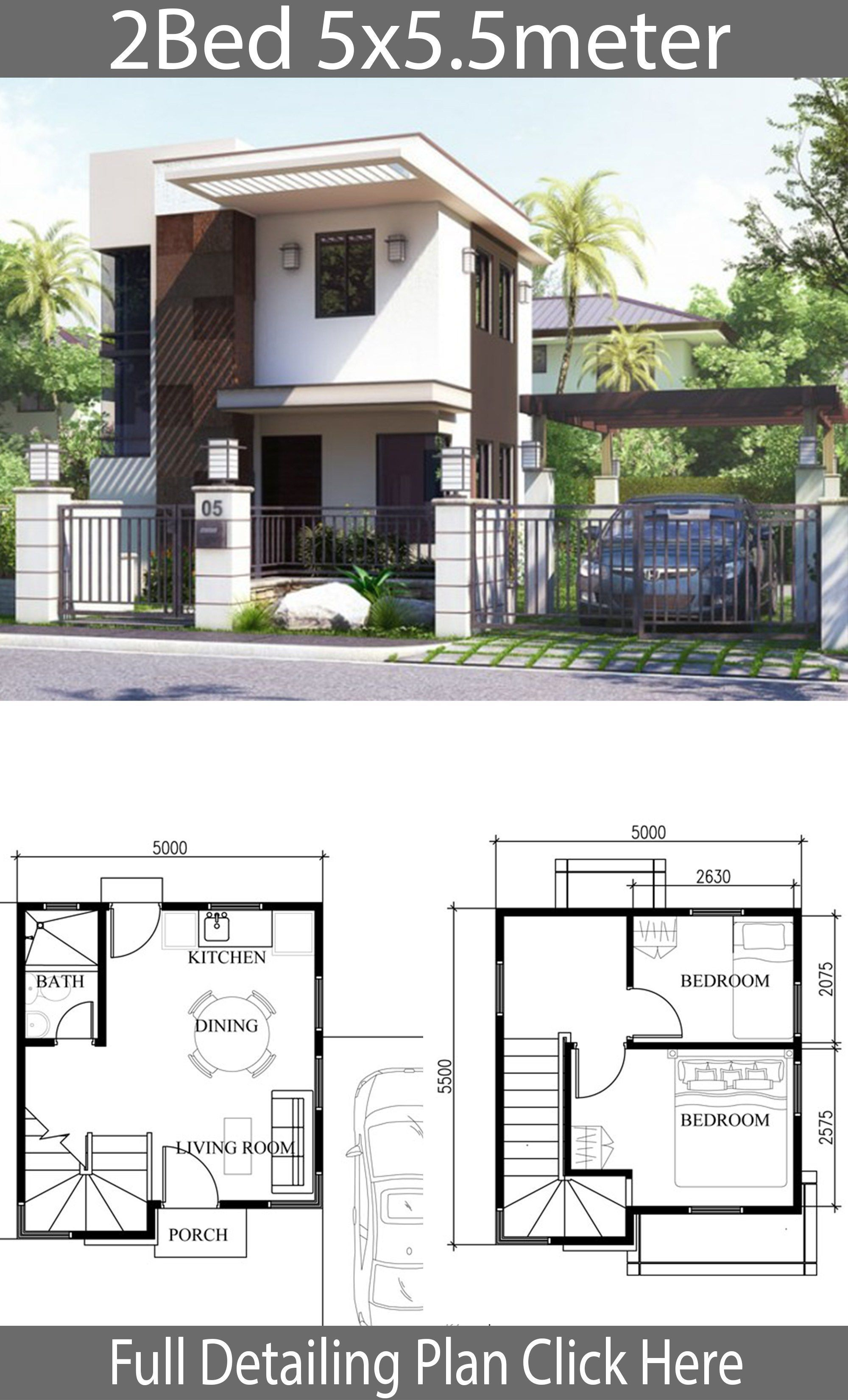 Small Home Design Plan 5x5 5m With 2 Bedrooms Home Design With Plan House Front Design Micro House Plans House Layouts