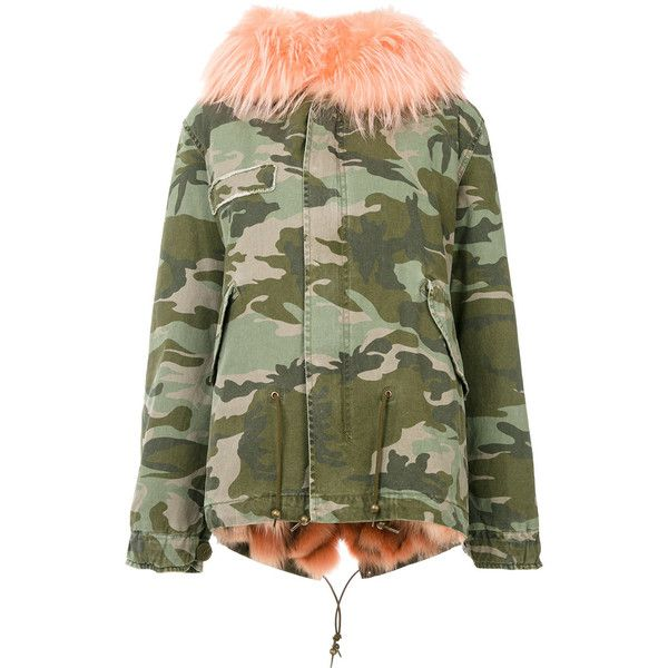 Mr & Mrs Italy camouflage parka jacket (31.050 DKK) ❤ liked on Polyvore featuring outerwear, jackets, green, army jackets, camo jacket, green parka, green camo jacket and short-sleeve jackets