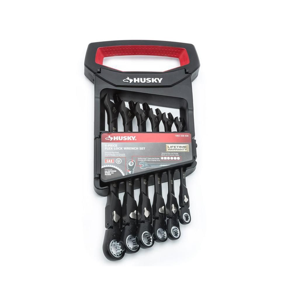 Husky 100Position FlexHead Ratcheting Wrench Set SAE (6