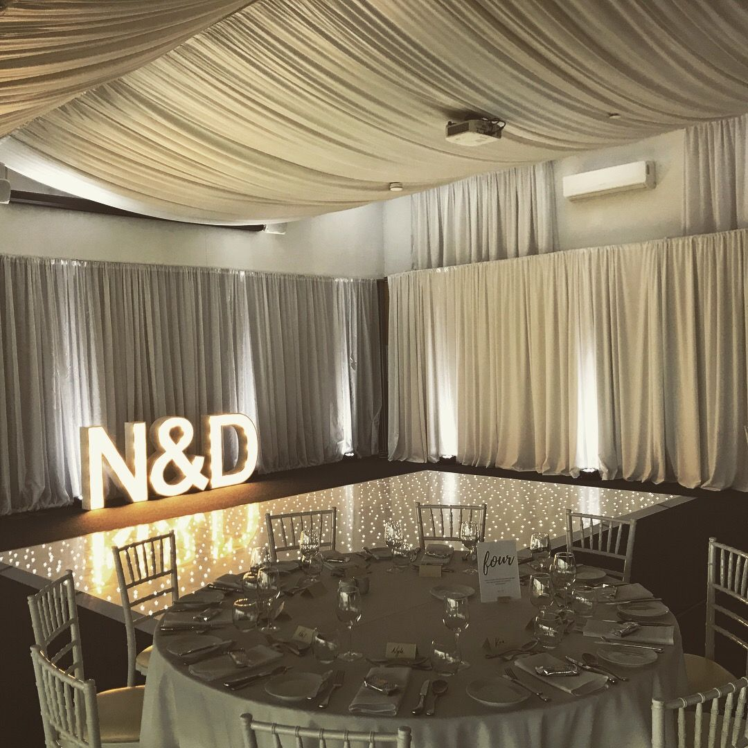 Columns ivory fabric uplighting wedding ceremony downtown double tree - Our Beautiful White Led Dance Floor And Uplighting Set Up At Burswood On Swan Yesterday For