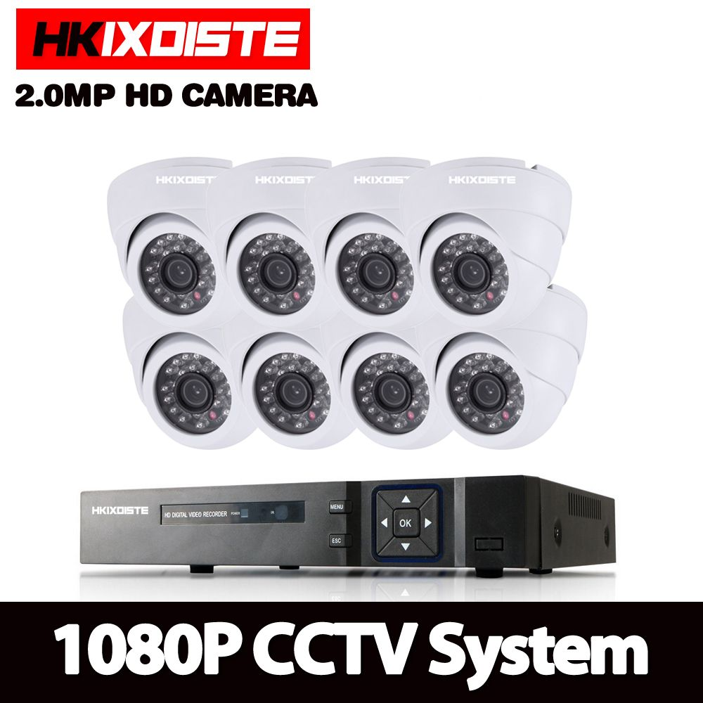 HKIXDISTE Home Security Camera System 8ch CCTV System 8X 1080P