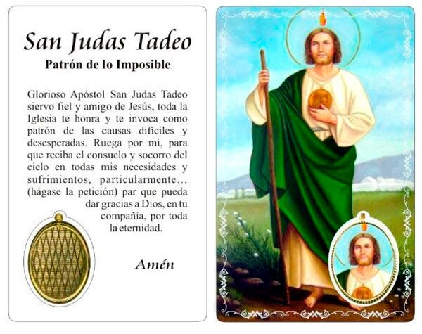 Estampa De San Judas Tadeo Con Oracion Patron De Lo Imposible