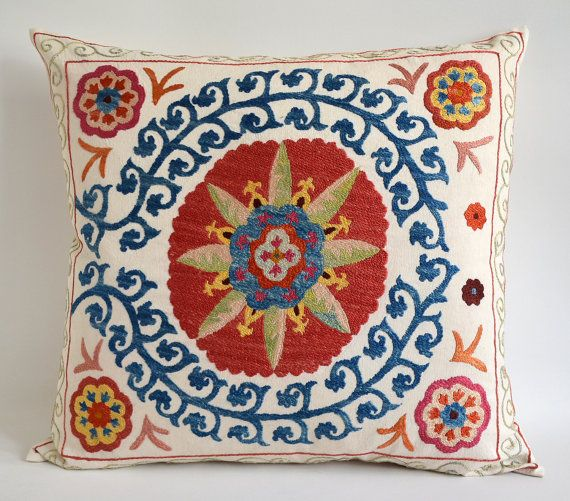20x20 Indian Patchwork Pillow Cover Bleu Bohême perles oreiller sol coussins