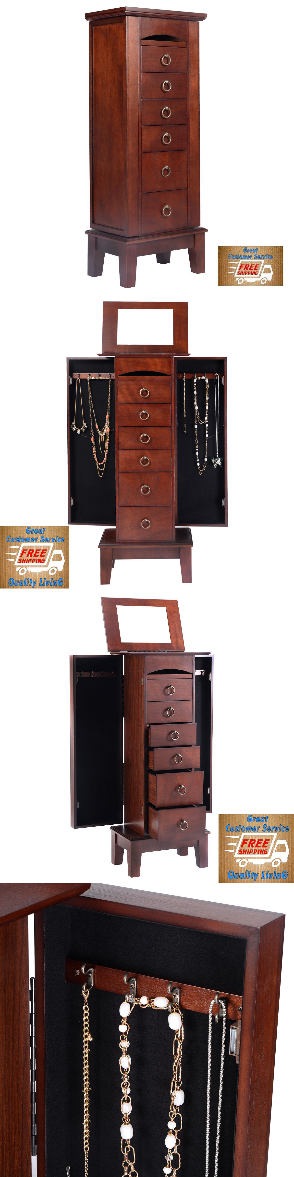 Jewelry Boxes 3820 Wood Jewelry Cabinet Vintage Armoire Box Storage