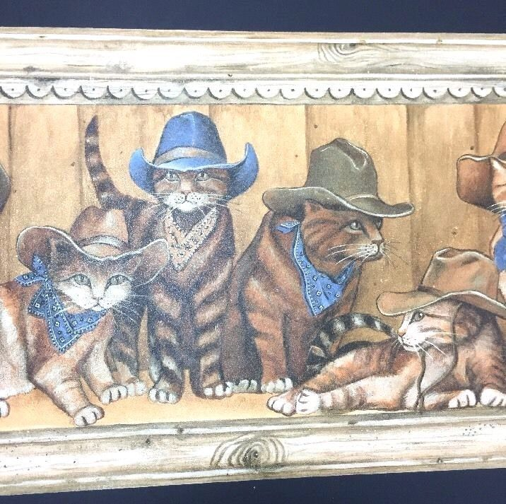 Raymond Waites Wallpaper Border Cowboy Cats Kitties in