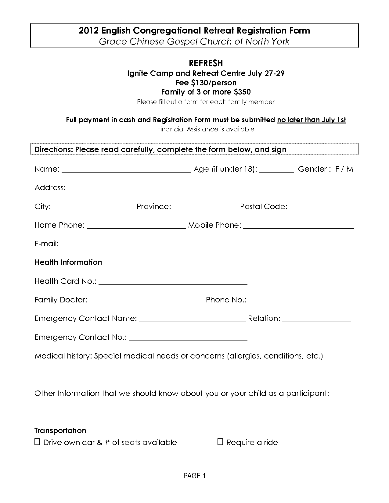 RetreatRegistrationForms  Retreat Registration Form Template