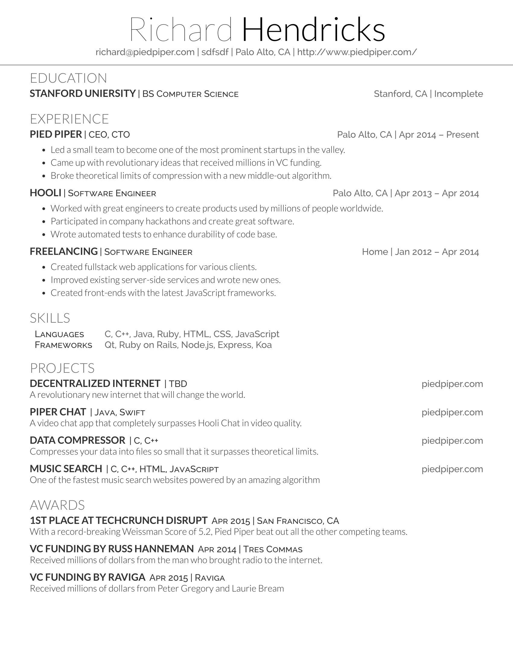 latex resume generator - Latex Resume