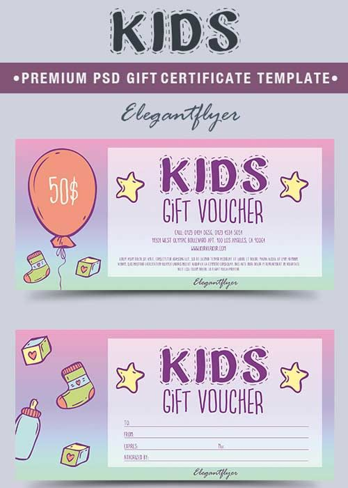 Kids V1 2018 Premium Gift Certificate Psd Template Free Download