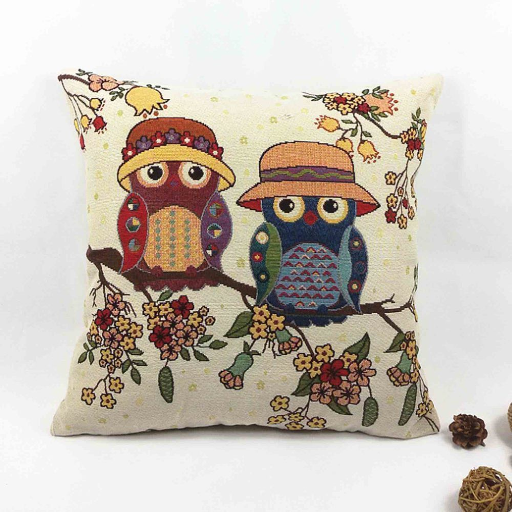 Owl printed cushion home decor xcmxuu linenupolyester