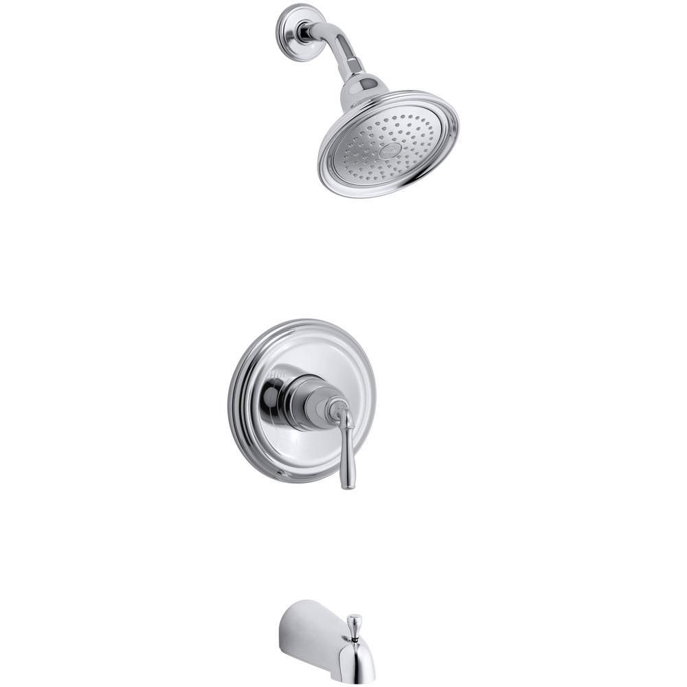 KOHLER Devonshire 1-Handle Rite-Temp Tub and Shower Faucet Trim Kit in Polished Chrome (Valve Not Included) - K-T395-4-CP - The Home Depot