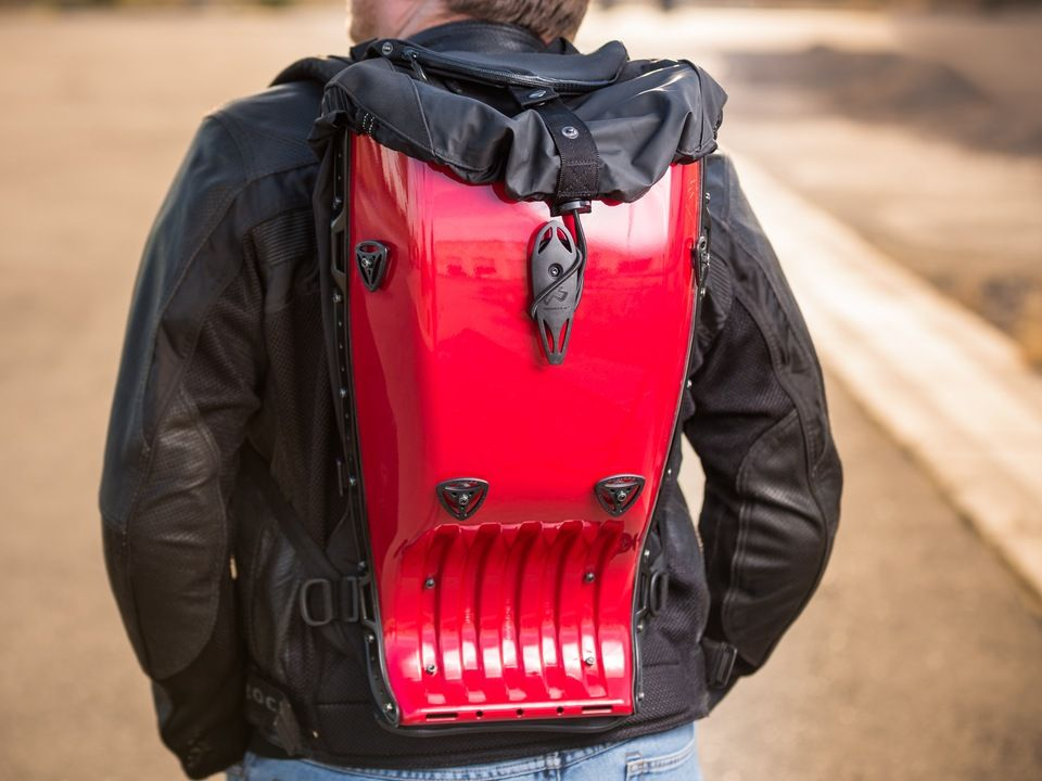 """Local Motors   Boblebee Megalopolis Backpage - Executive. Swedish motorcycle bicycling, and skiing backpack. Water-resistant. Carries 17"""" laptop."""