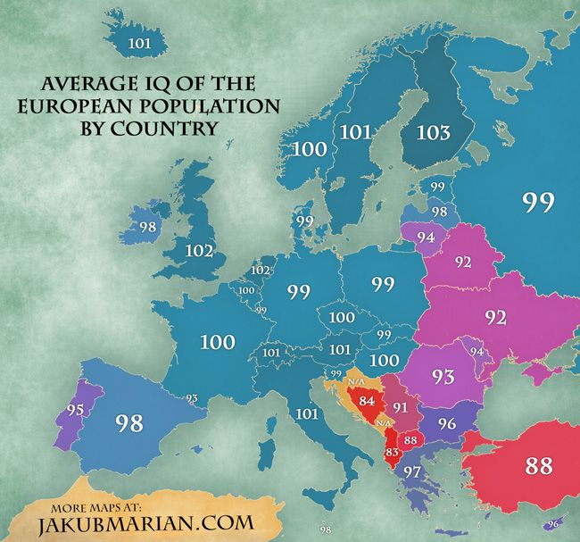Average Iq In Europe By Country Map Map European Map Europe Map