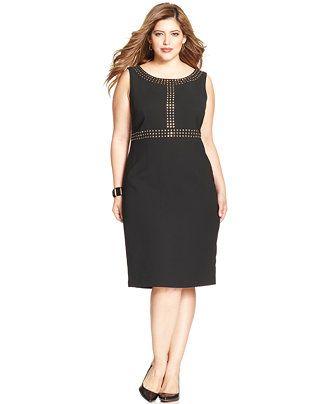 Kasper Plus Size Sleeveless Studded Sheath Dress Dresses Plus