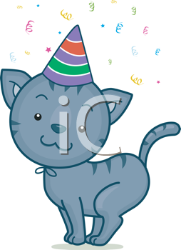 Illustration Of A Cat Wearing A Party Hat Lat S Have A Party