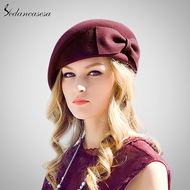 Female England British Australian Wool Felt Beret Hat Women Lady French Artist Red Black Flat Cap Bow Womens Fashion Vintage Black Women Fashion Hats For Women