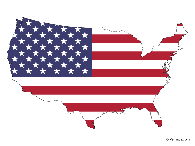 Flag Map Of United States Free Vector Maps United States Map United States Outline Flag