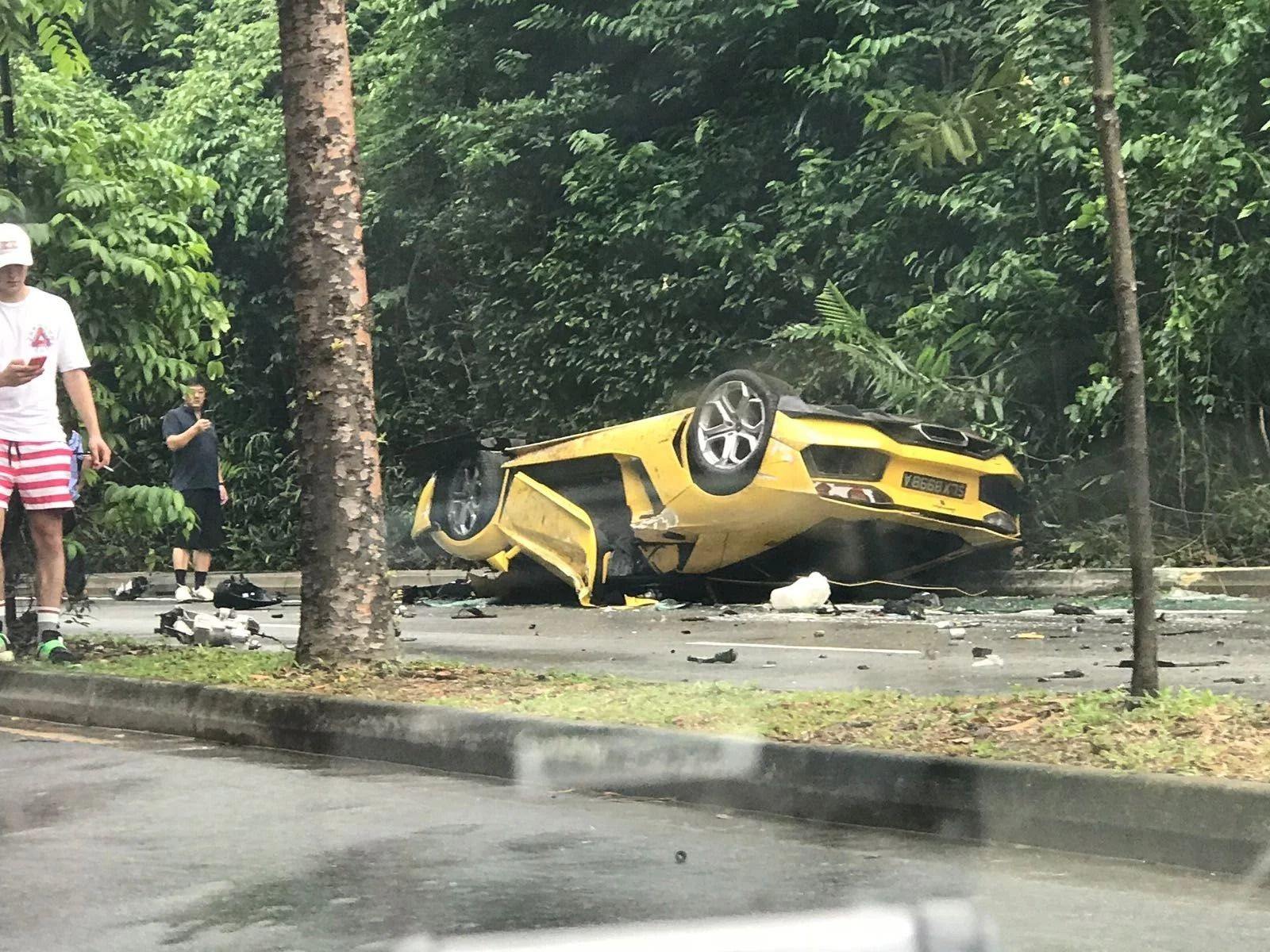 Lamborghini Aventador Wrecked After Roll Over Crash In Singapore