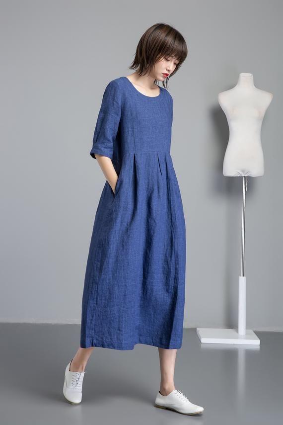 blue linen dress, long cut and flared linen dress for summer, midi dress for women, handmade fashionable blue casual linen dress C1257.