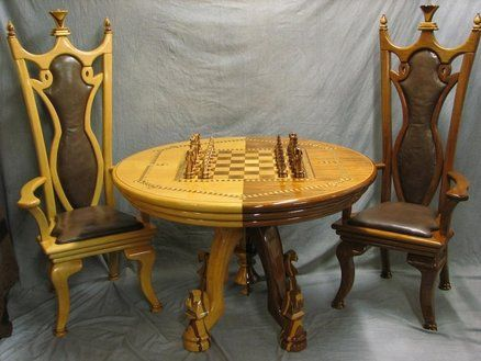 \ Chess Set Table \u0026 chairs. some better pictures & Chess Set Table \u0026 chairs. some better pictures | wooden things I ...