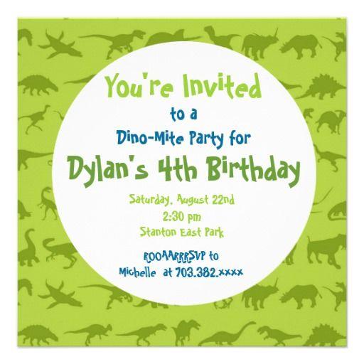 cute dinosaur birthday party invitation templates | tayton party, Birthday invitations