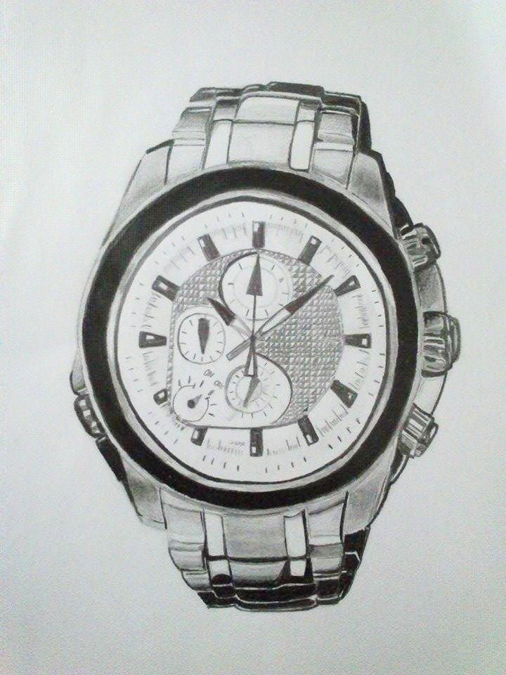 Expresión gráfica. Reloj a lápiz efecto metal.