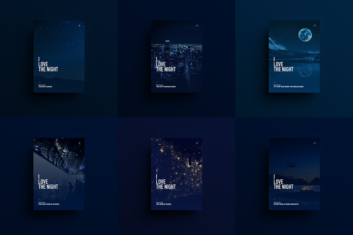 I love the night and there are reasons why. Thanks to these feelings I can work better when it's dark outside, my mind is more inspired and I can think more clearly. I designed this poster series to tell these sensations.