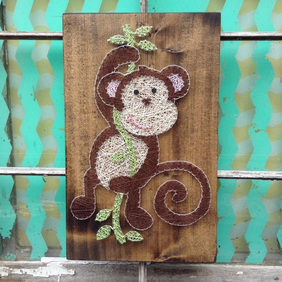 January Sale Swinging Monkey String Art, Monkey Nursery Decor ...