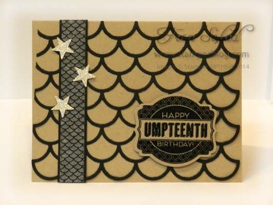 Umpteenth Birthday by fsabad - Cards and Paper Crafts at Splitcoaststampers, using Striped Scallop thinlits