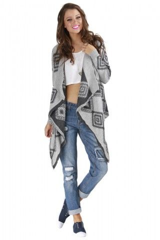 Gray and Black Aztec Print Waterfall Cardigan | USTrendy