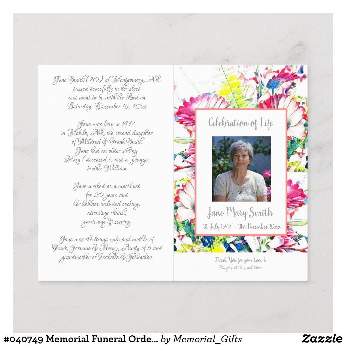 040749 Memorial Funeral Order of Service Program Zazzle