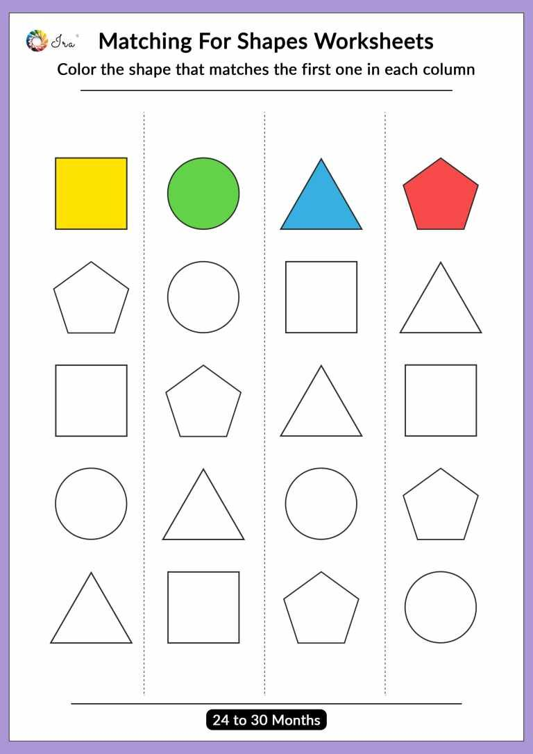 Free Printable Matching Shapes Worksheets for (2430