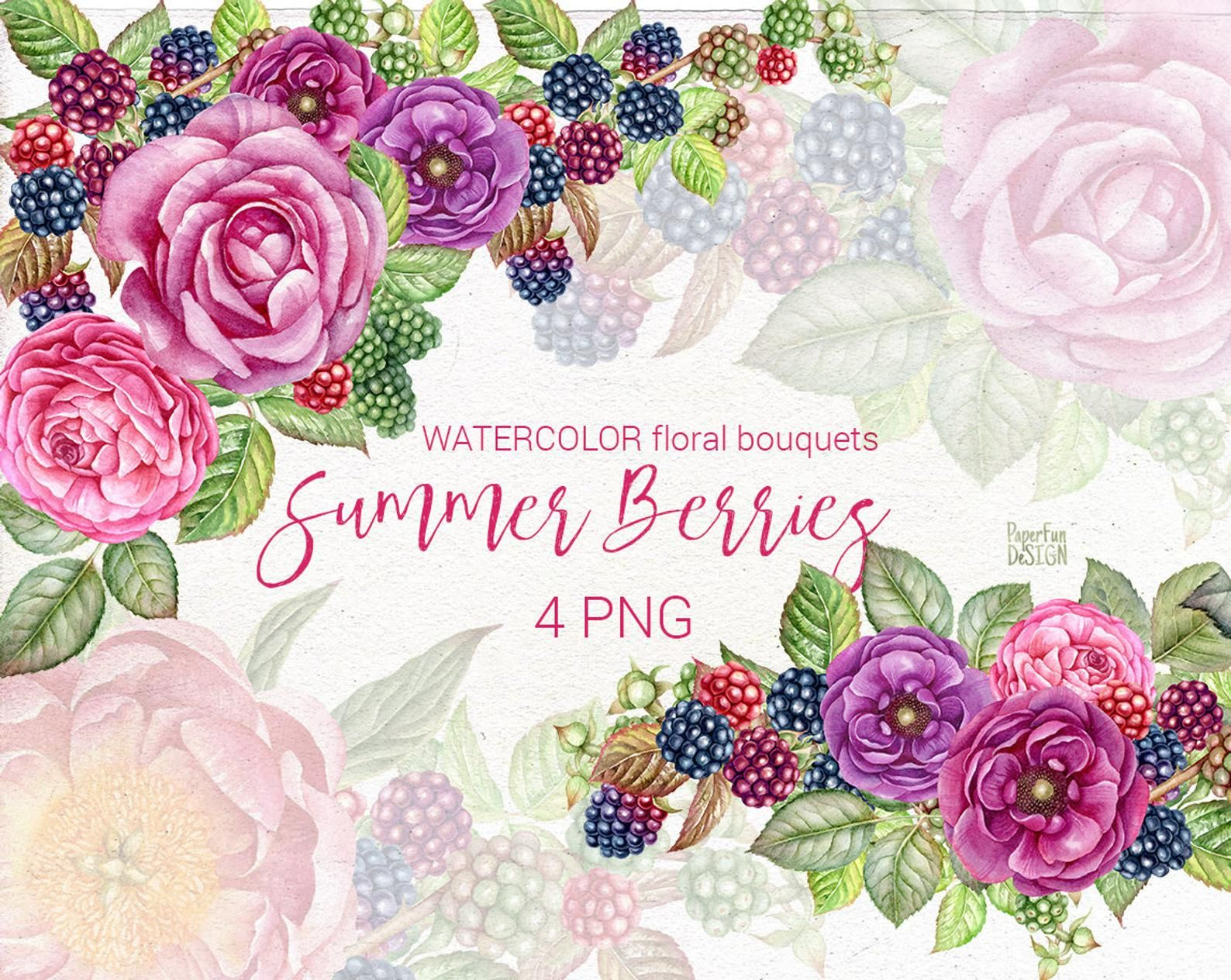 Watercolor summer bouquets clip art. Pink flowers and
